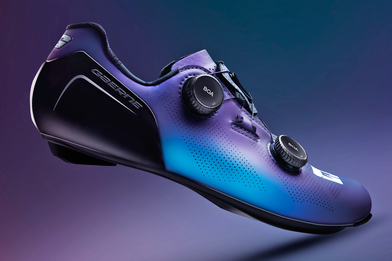 Gaerne G.STL road shoes, top-tier made-in-Italy performance carbon road race bike shoe, Iridium iridescent purple