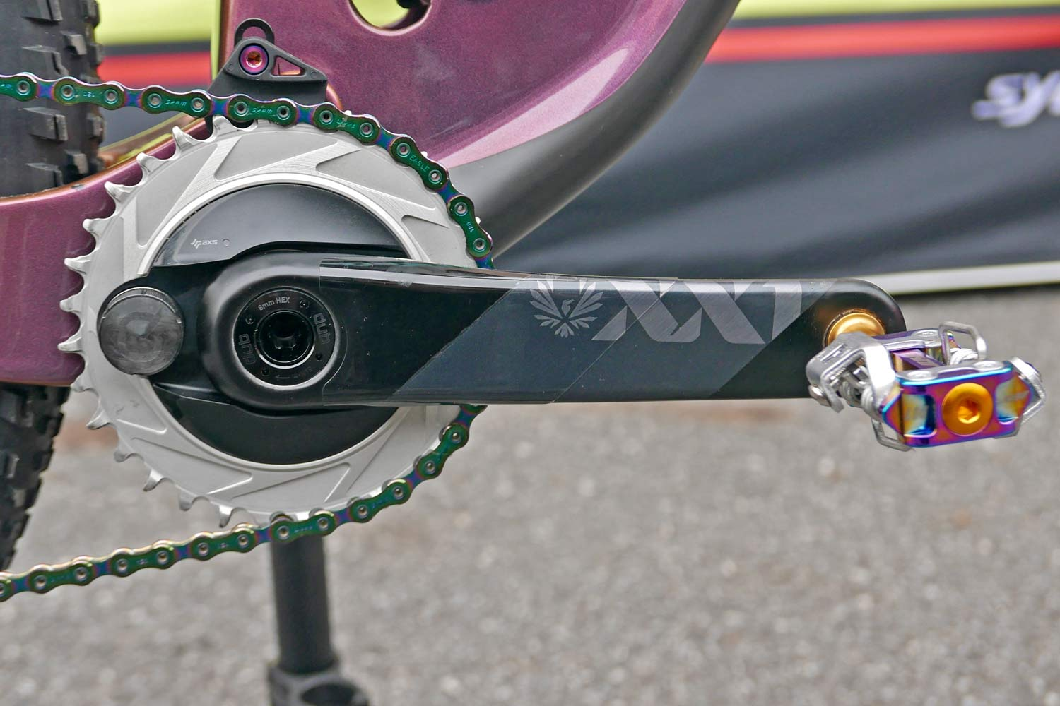 Prototype Blackbox SRAM XX1 AXS integrated direct mount power meter chainring, Kate 32T ring