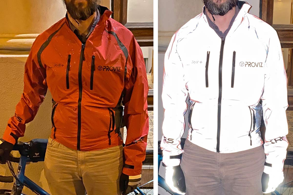Review: Proviz Reflect 360 CRS+ reflective cycling jacket, on/off flash