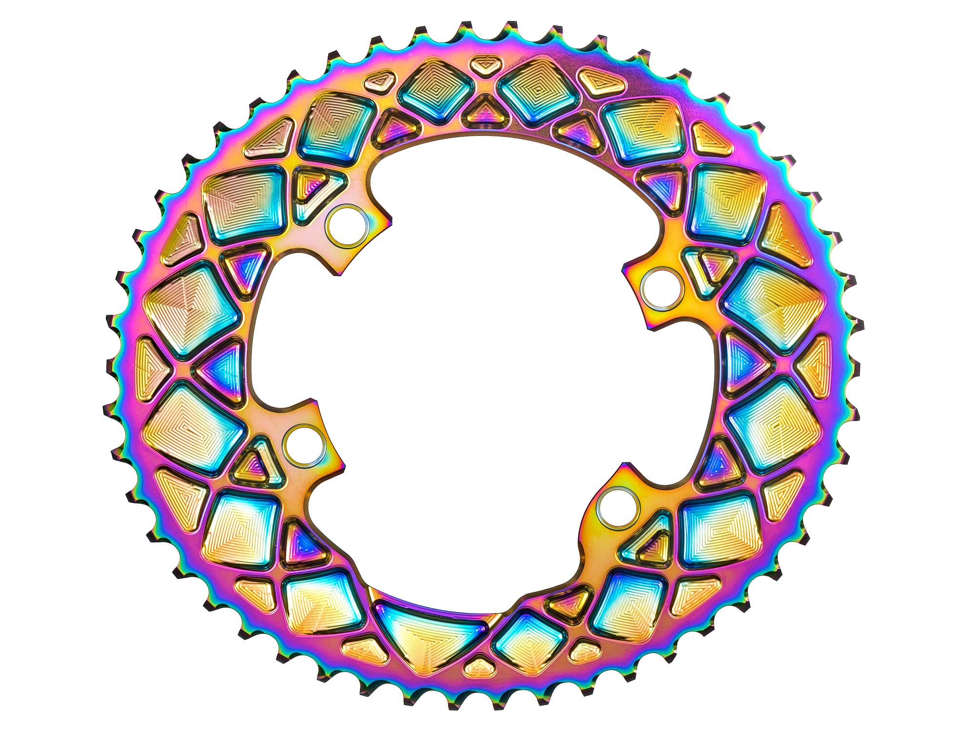 absoluteBLACK Oval PVD rainbow road rings, colorful oil slick road bike Shimano double chainrings,big ring