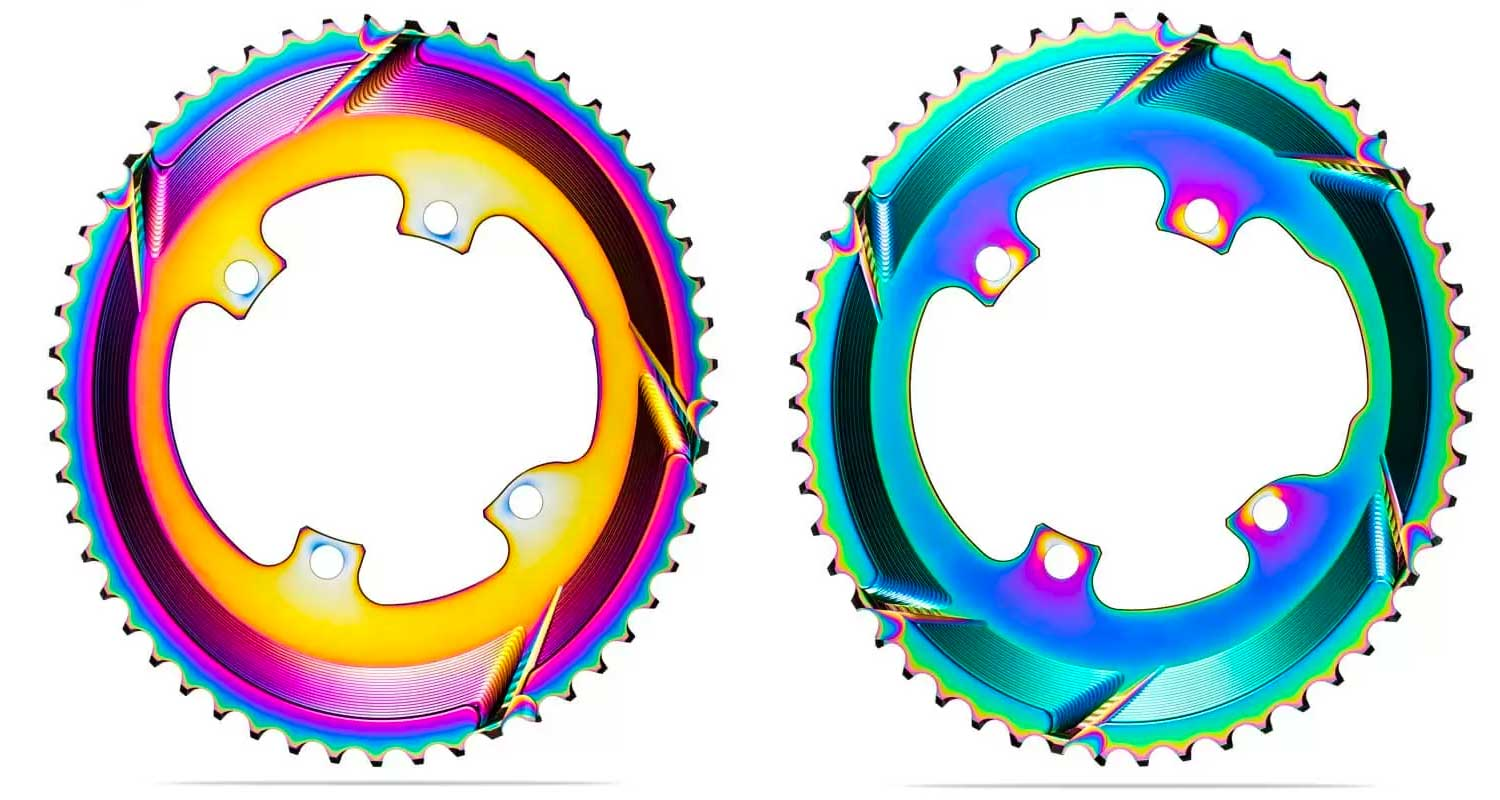absoluteBLACK Oval PVD rainbow road rings, colorful oil slick road bike Shimano double chainrings,color variation