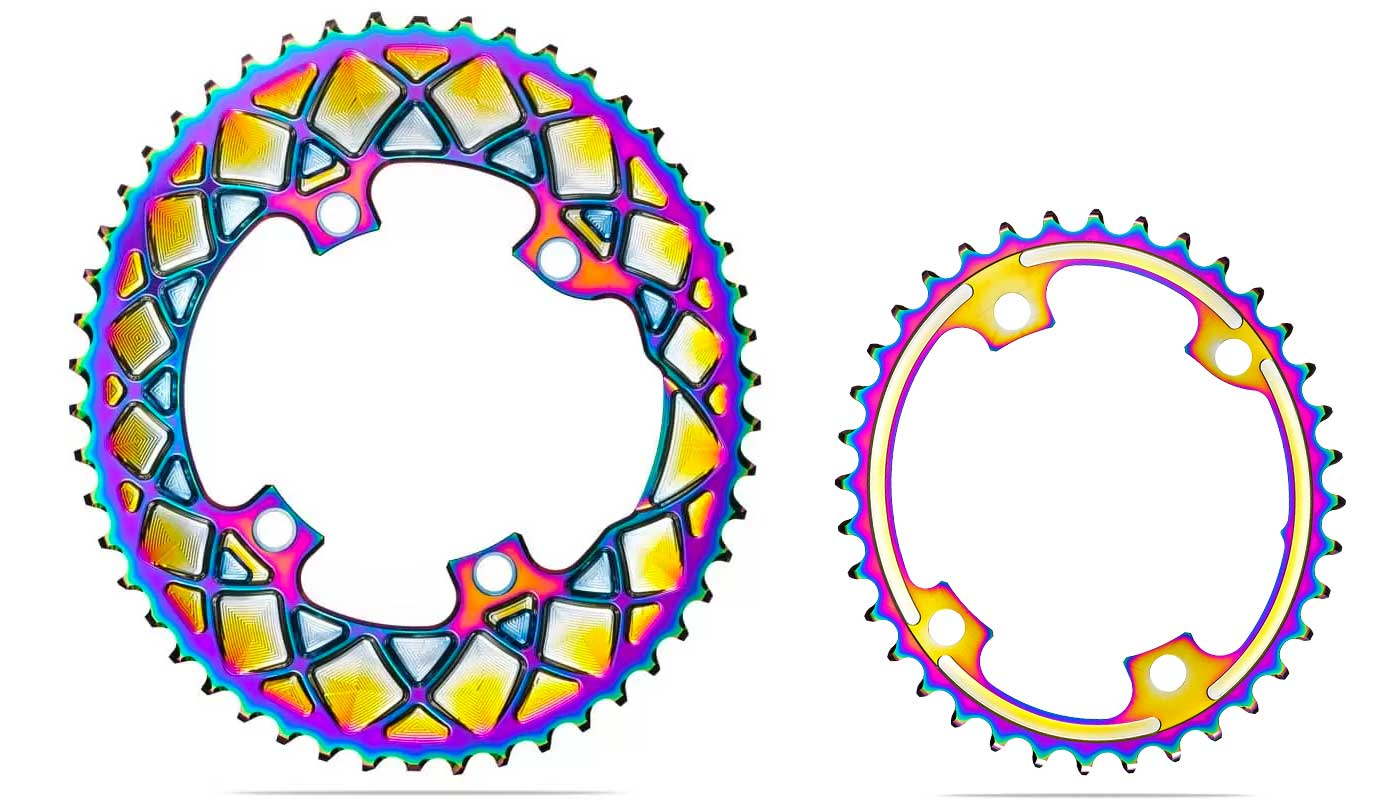 absoluteBLACK Oval PVD rainbow road rings, colorful oil slick road bike Shimano double chainrings,set