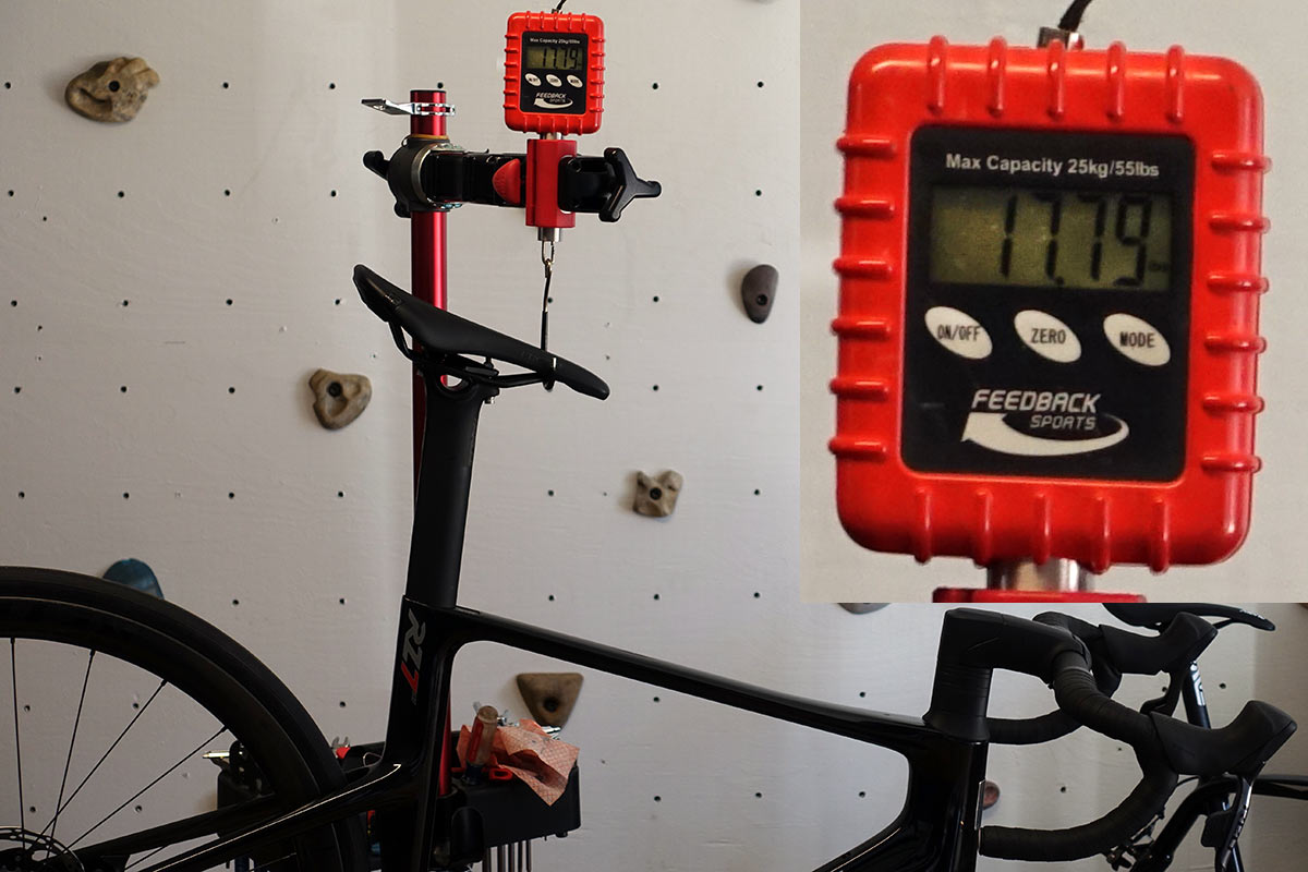 review of parlee rz7 aero road bike with bike showing actual weight on a scale