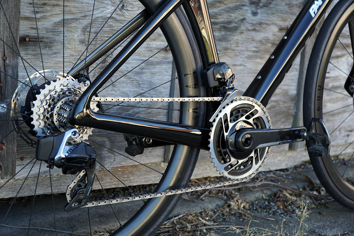 review of parlee rz7 aero road bike with bike showing closeup details of drivetrain and brakes