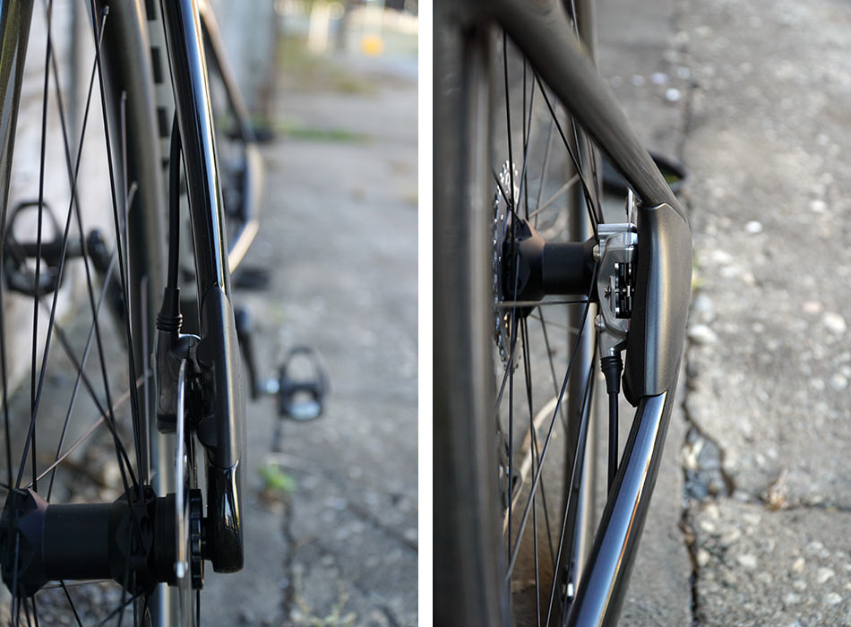 review of parlee rz7 aero road bike with bike showing closeup details of carbon fiber brake covers