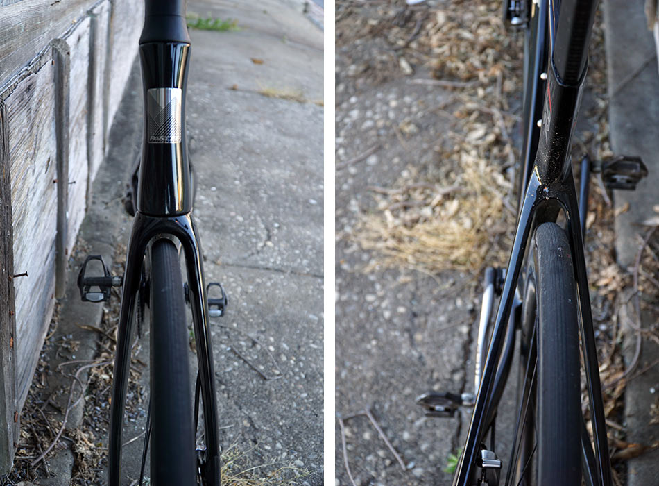 review of parlee rz7 aero road bike with bike showing tire clearance on front and rear