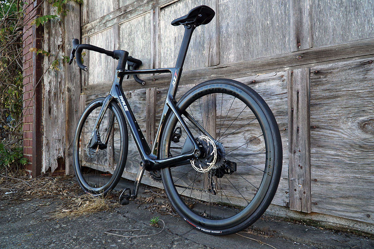 review of parlee rz7 aero road bike with bike shown from left rear angle
