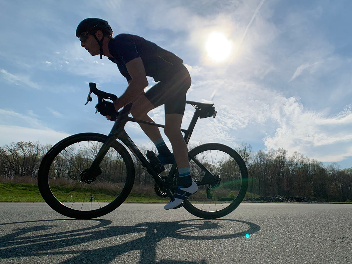 riding action on the parlee rz7 aero road bike