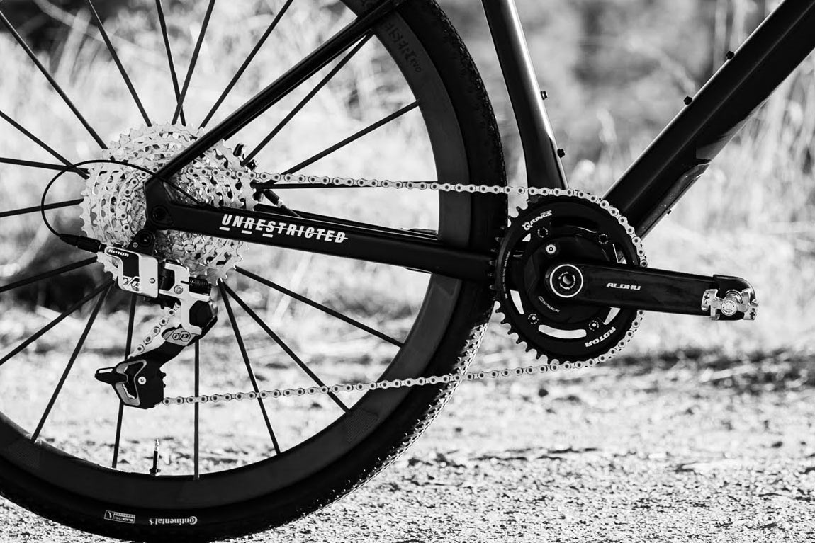 new rotor aldhu carbon fiber crank arms shown on a bike with rotor 1 by 13 drivetrain group