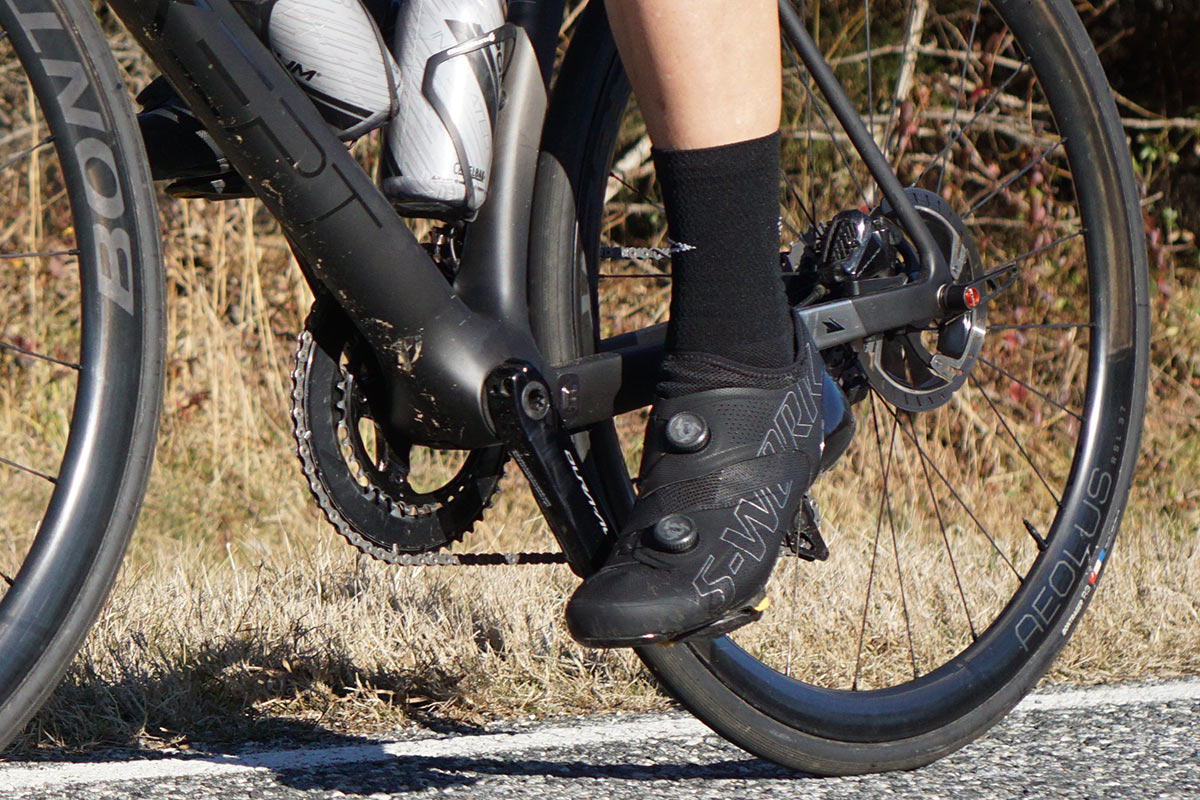 specialized s-works ares road cycling shoes being reviewed and ridden