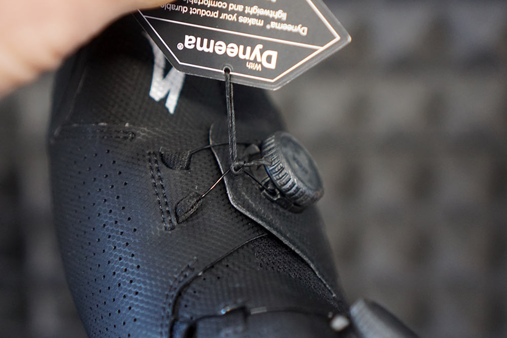 closeup details of specialized s-works ares road cycling shoes