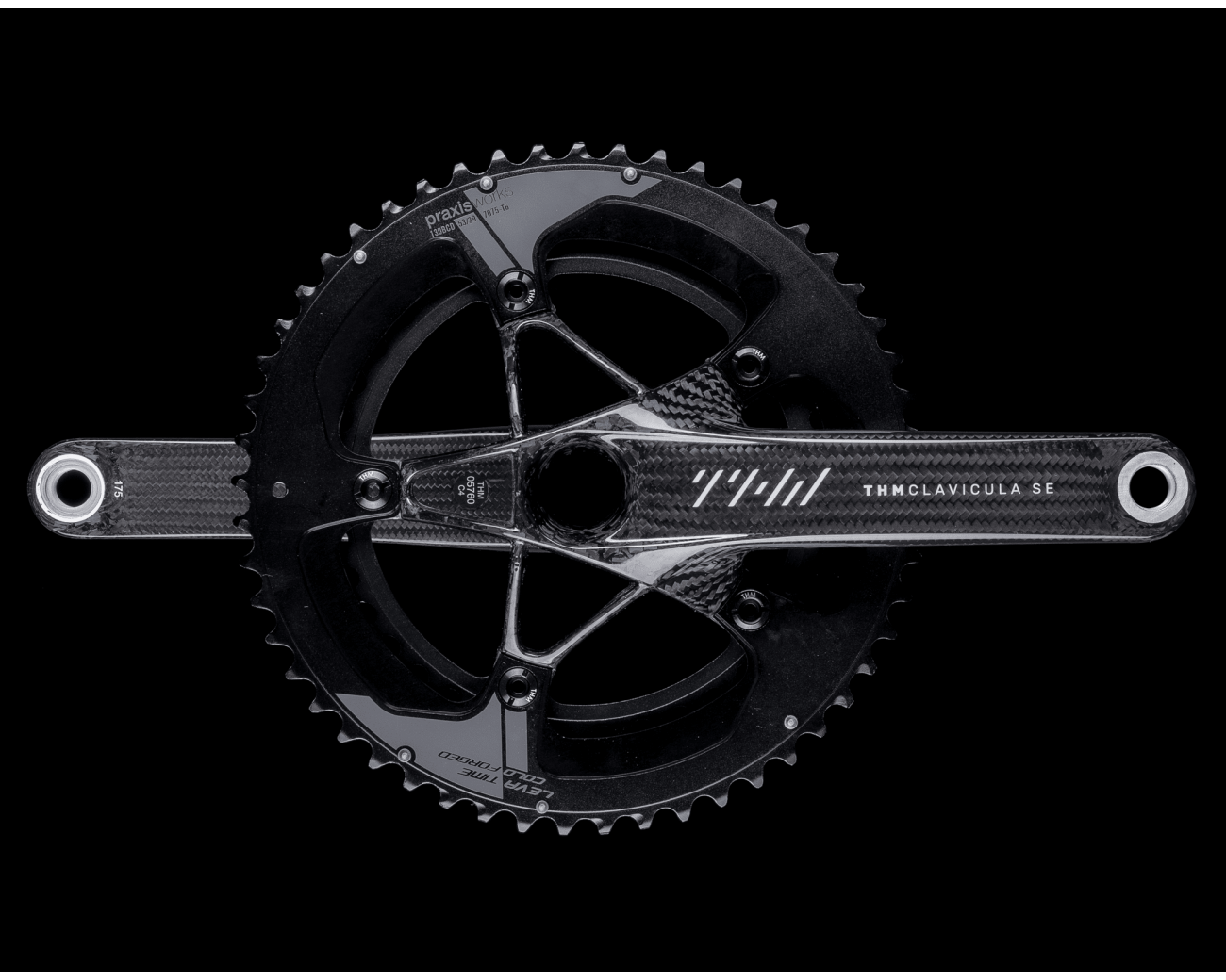 thm carbones clavicula se carbon power meter crankset with praxis chainrings