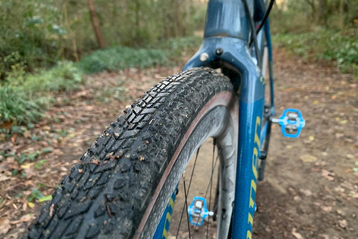 zipp tangente course gravel tire review - top of tire tread pattern