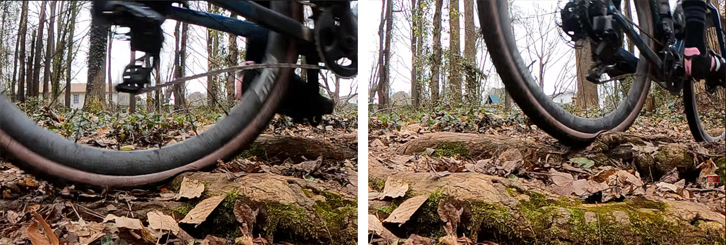 zipp tangente course gravel tire review showing tires deforming over roots