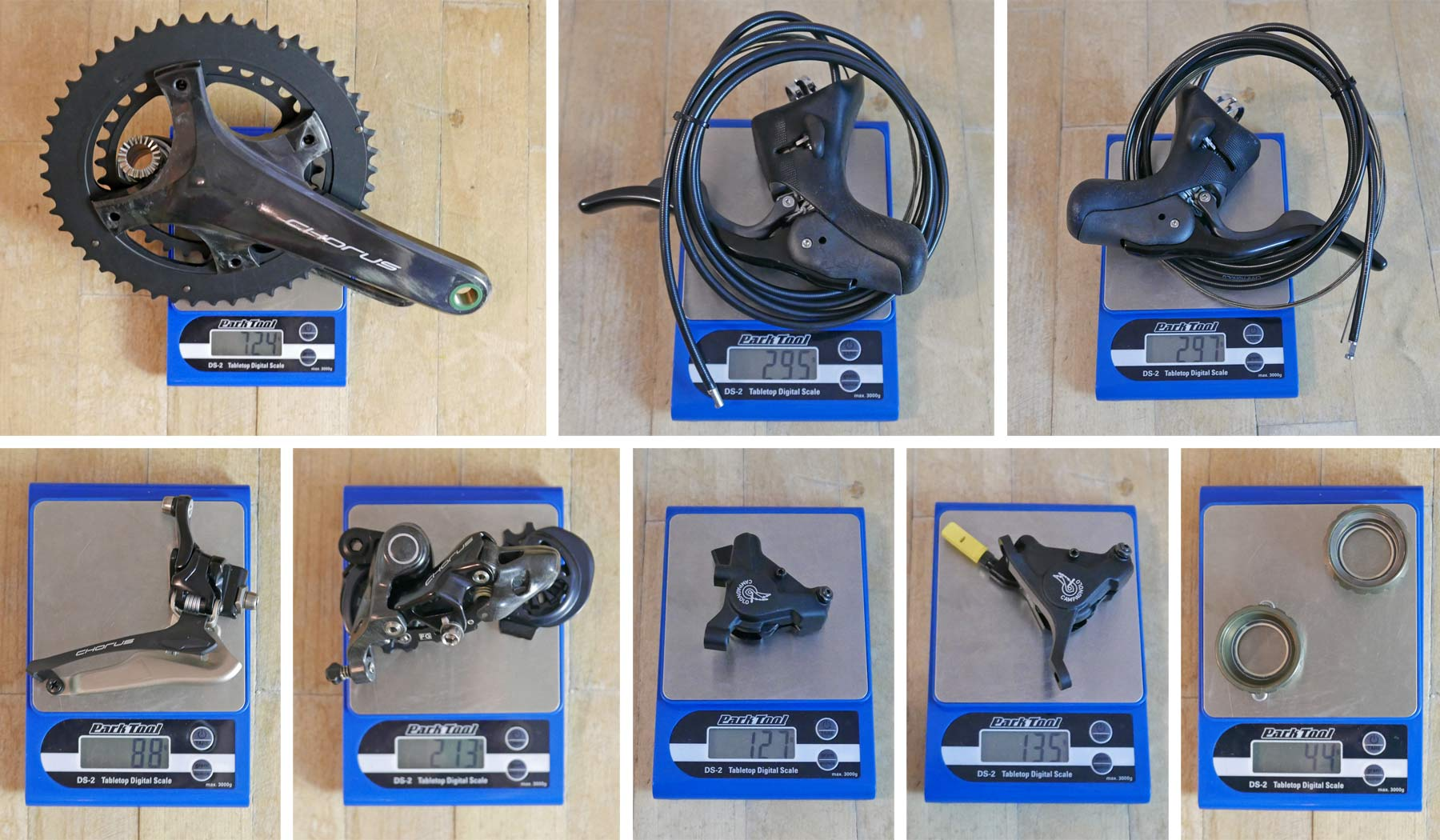 Campagnolo Chorus 2x12 all road bike groupset review, actual weights
