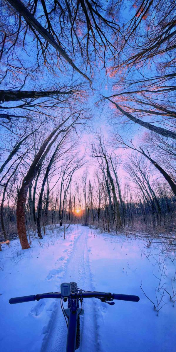 bikerumor pic of the day potato creek state park in north liberty indiana the pov from the handlebars of a bicycle looking out over groomed snow trail with an orange sun peeing out from the horizon and the dark silhouette of trees beyond. the photo is a vertical panorama so the trees appear to converge in the top half of the photo.
