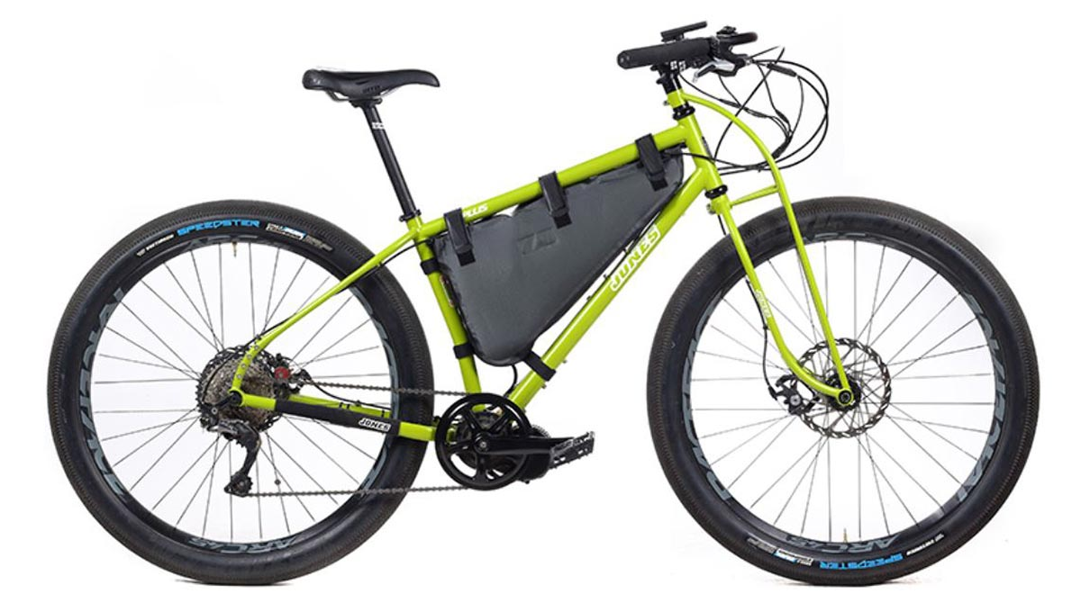 jones motorbikes yellow plus lwb hd/e bikepacking ebike frame