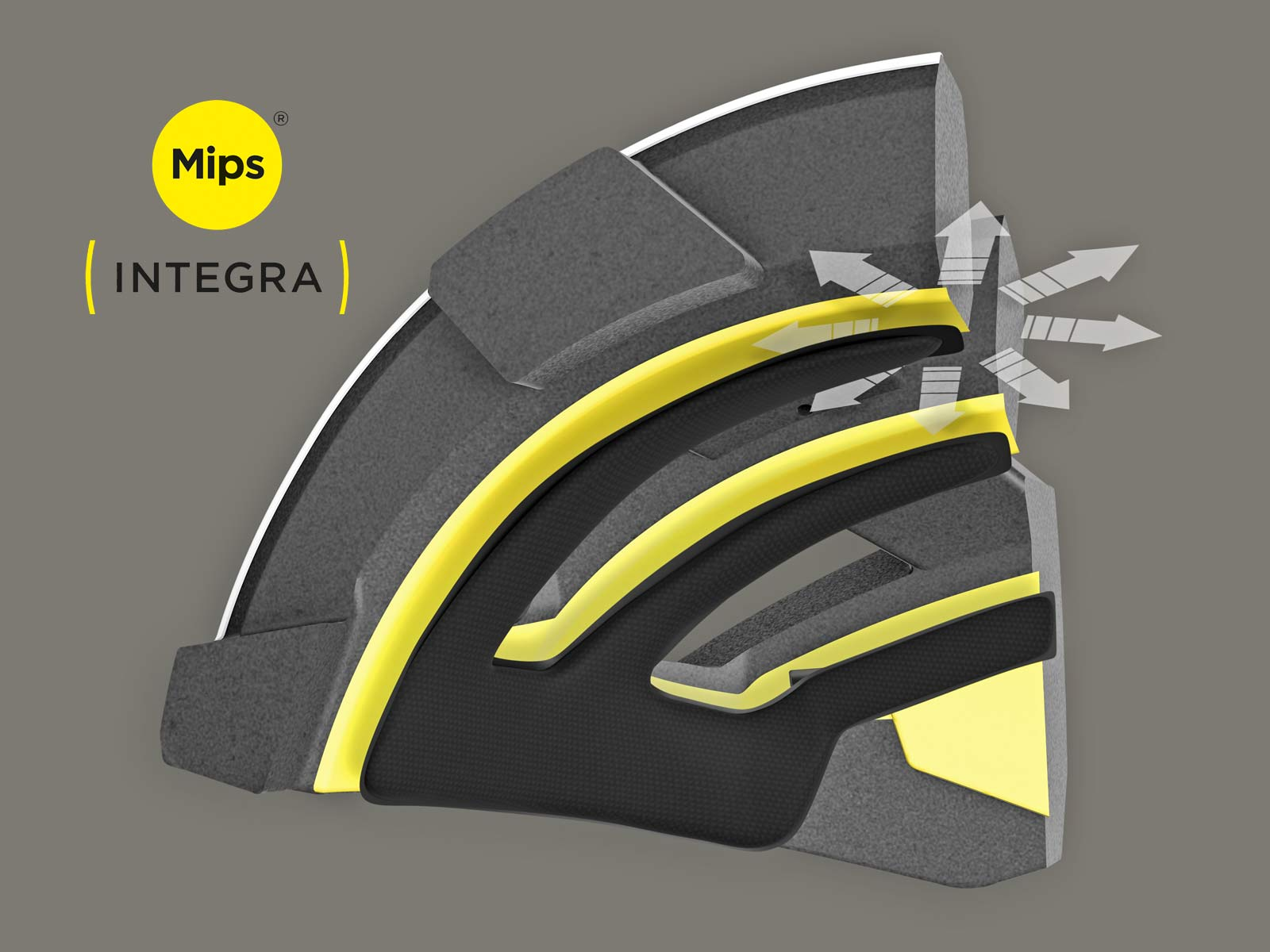 MIPS Integra new integrated helmet protection, rotation-reduction, yellow low-friction liner, new safer cycling helmets, inmold MIPS detail