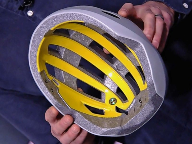 MIPS Integra new integrated helmet protection, rotation-reduction, yellow low-friction liner, new safer cycling helmets, inmold MIPS