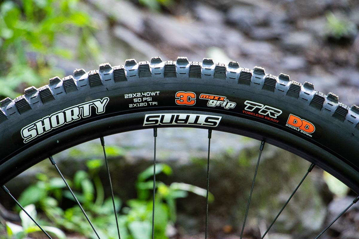 Maxxis Shorty Gen 2 MTB mid-spike mud tire  side profile