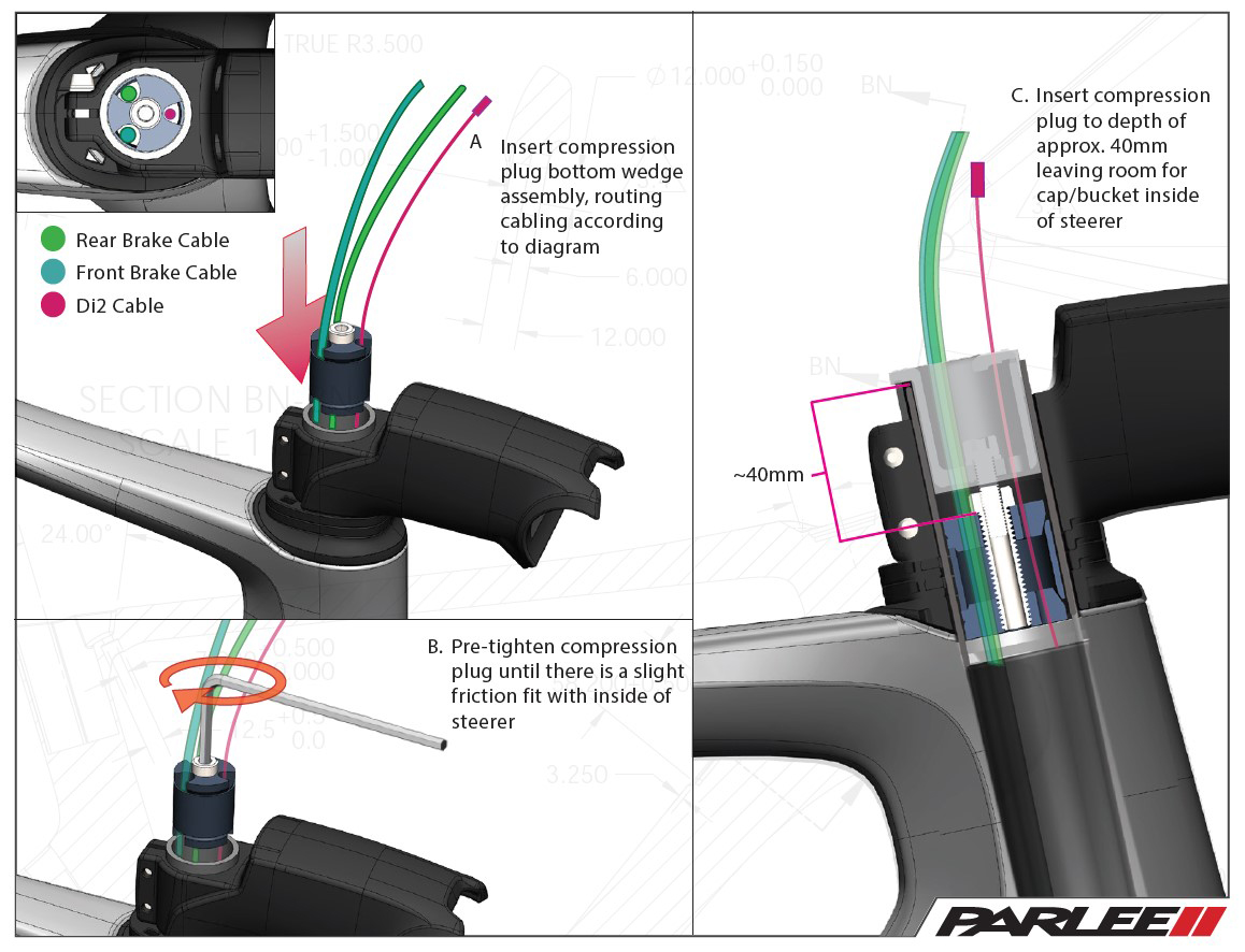 cable and hose routing guide for parlee rz7 internal steerer tube