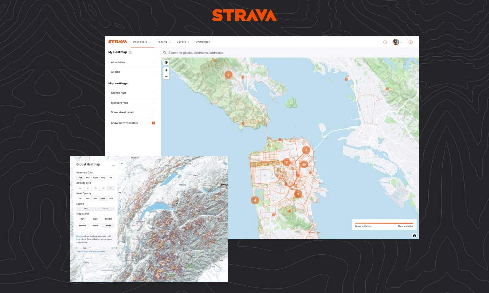 Strava mobile training app update, heatmaps