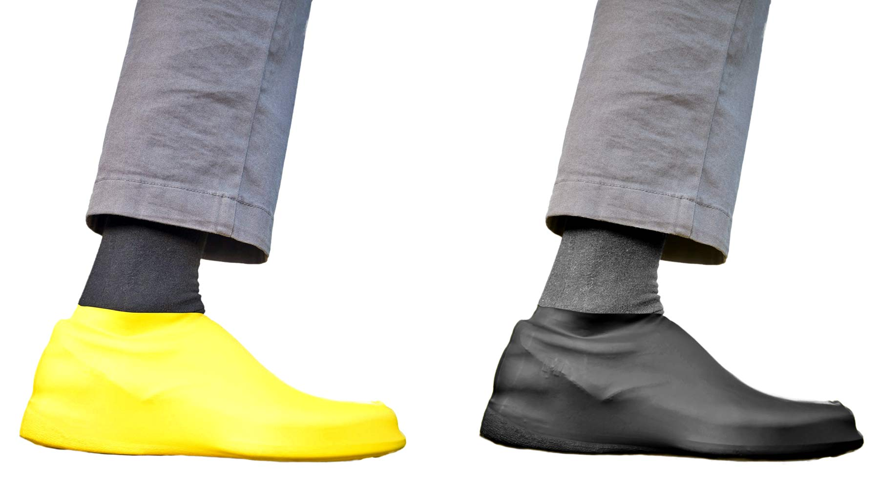 VeloToze Roam bike commuter shoe covers, waterproof latex flat pedal platform shoe covers for everyday protection, yellow or black color options
