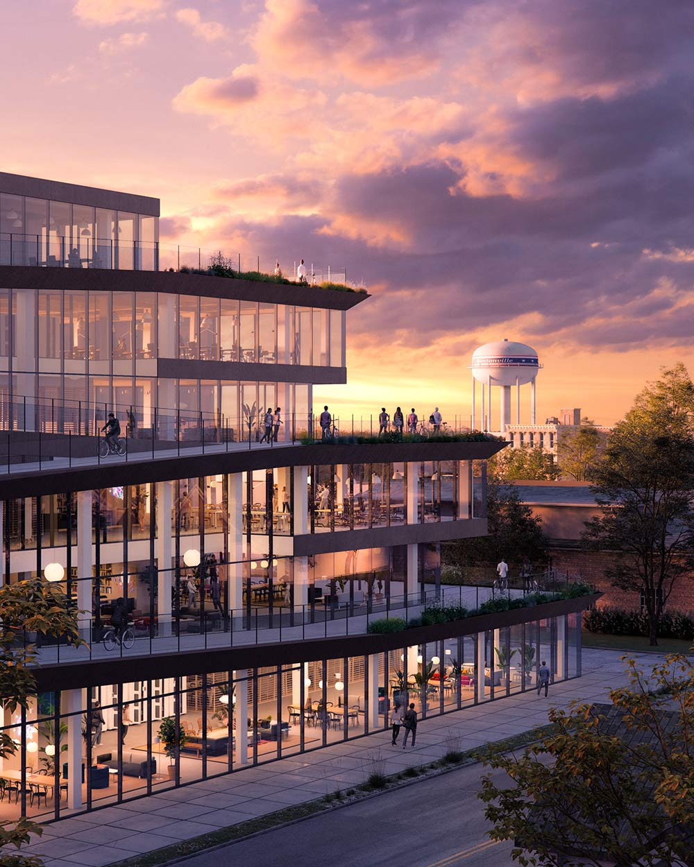 rendering of co-working office space in bentonville arkansas with bike ramps so you can ride to every floor of the building