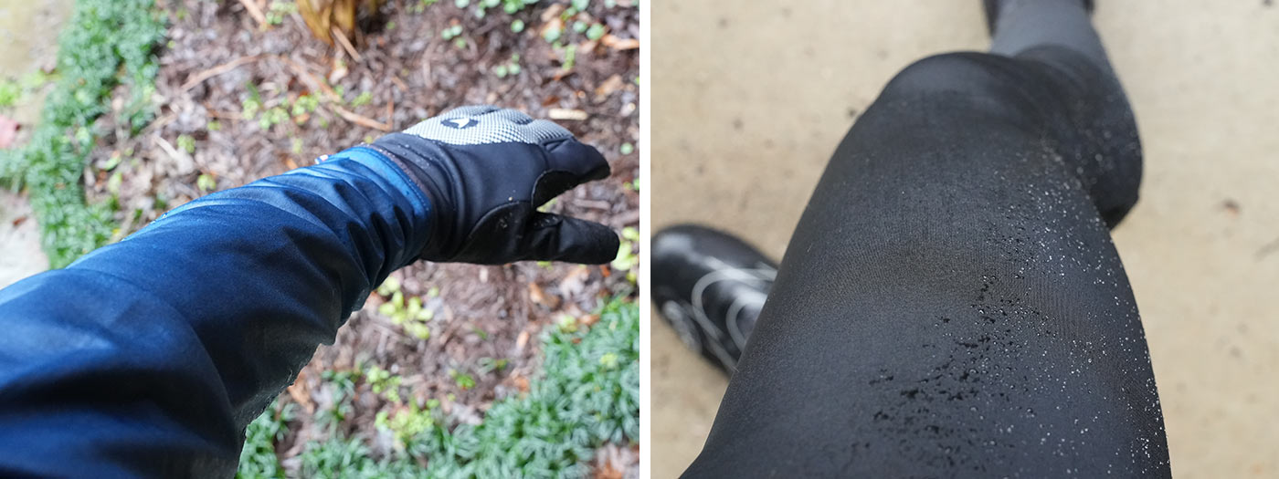 winter cycling kit shown with water on it