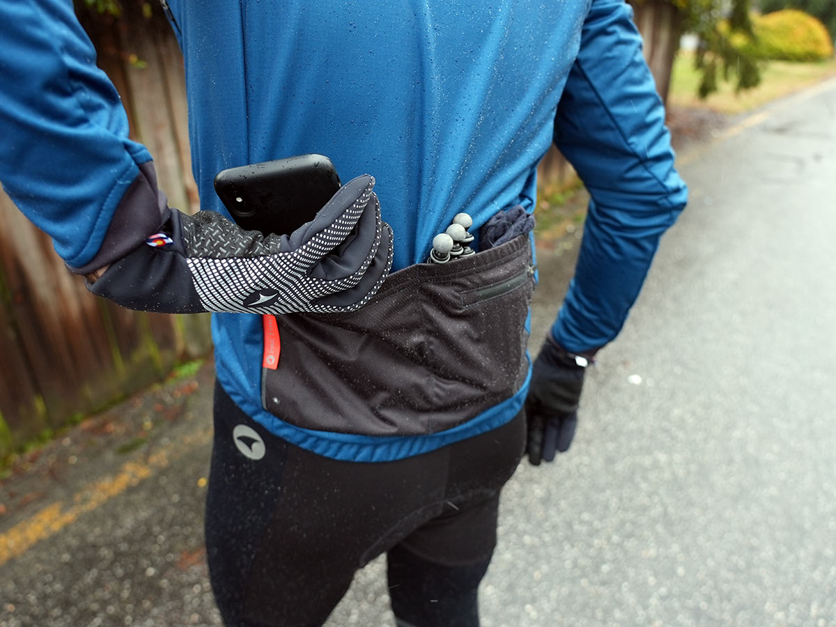 winter cycling jacket with two pockets