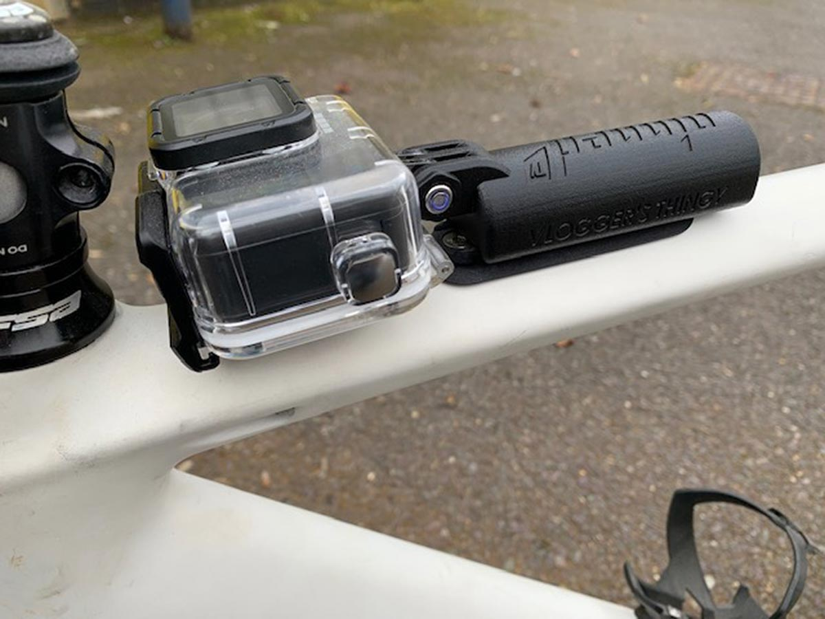pinned tv vloggers thingy jim buchanans 76projects prototype gopro holder top tube mounted