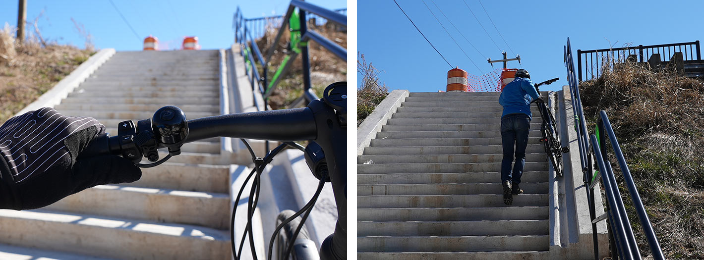 using the walk assist feature on the specialized turbo vado to get it up a bike ramp