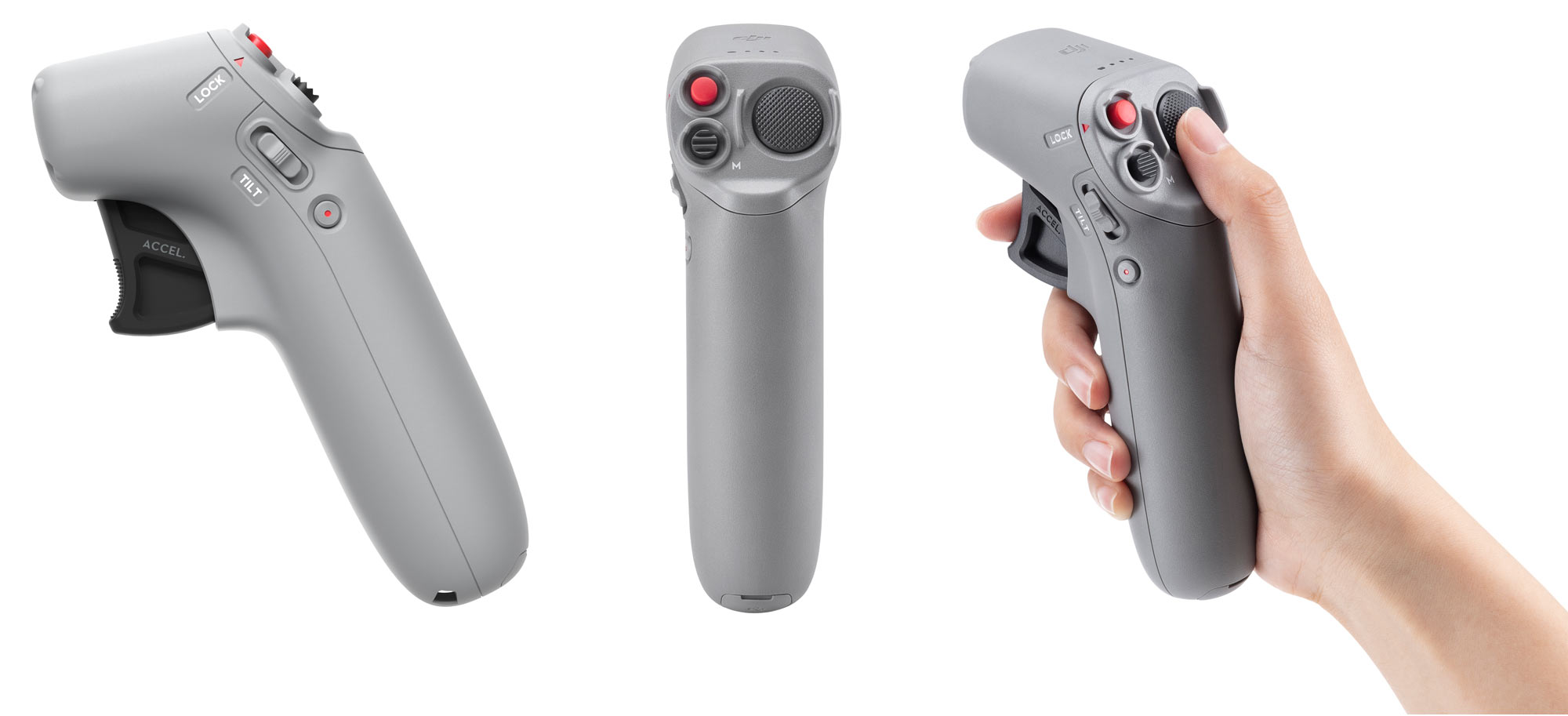 dji fpv motion controller remote joystick shown from different angles