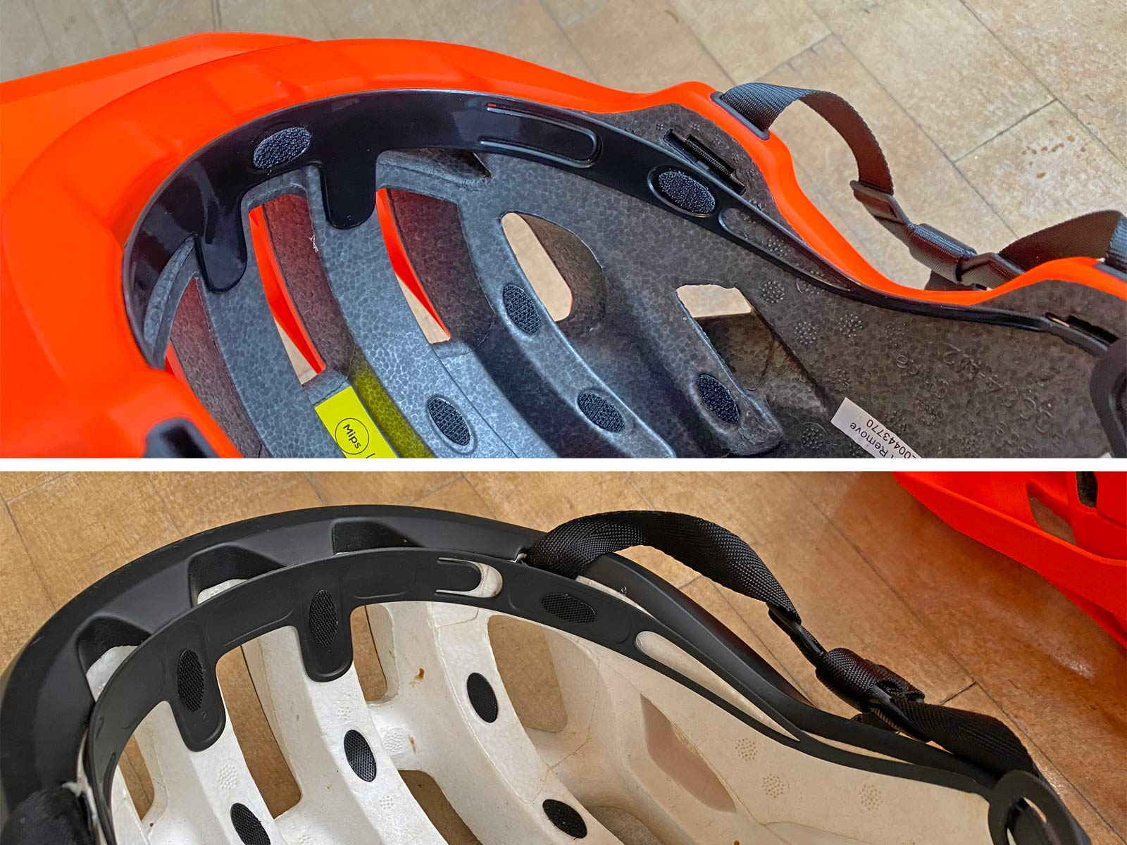 MIPS Integra helmet protection, anti-rotation low-friction layer insert tech, POC MIPS vs. SPIN