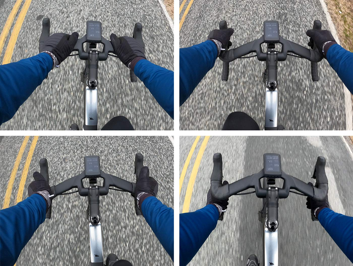 different hand positions on the coefficient wave rr aerodynamic road bike handlebar