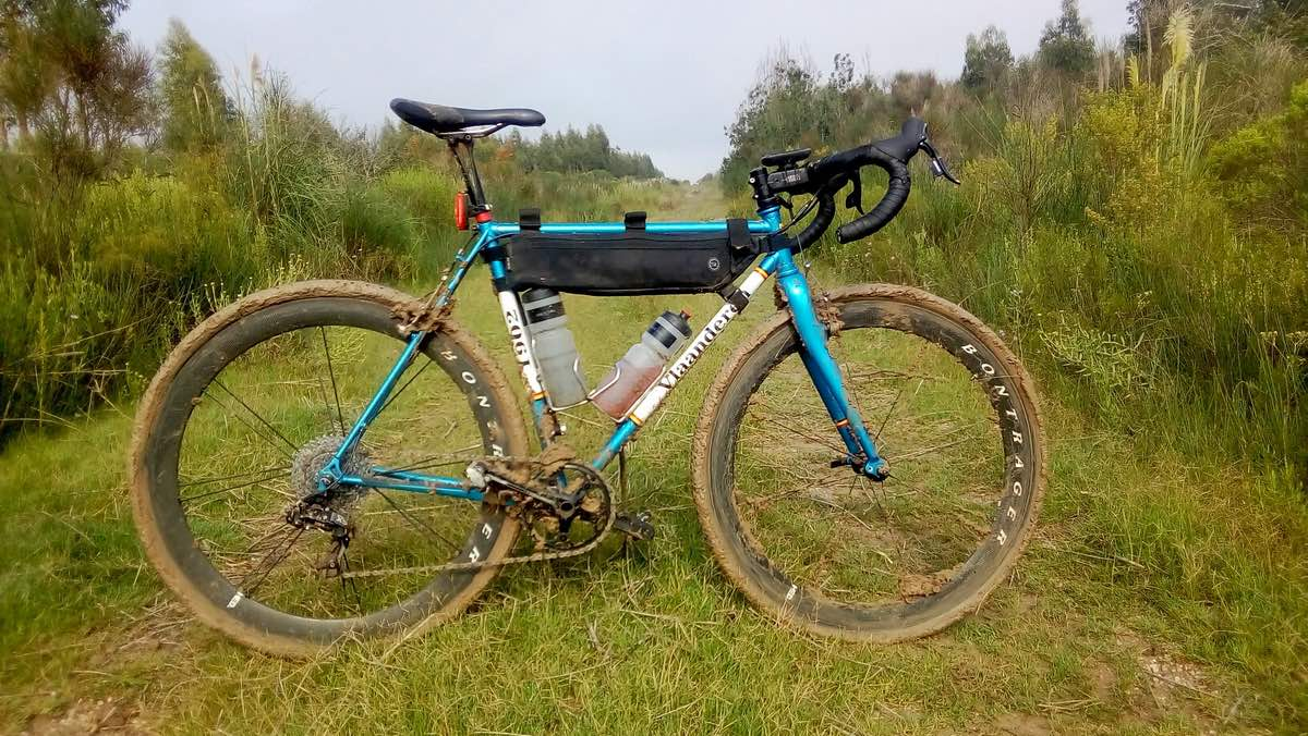 bikerumor pic of the day gravel bike ride in Uruguay a muddy bicycle is posed across a grassy road with pine trees on either side.