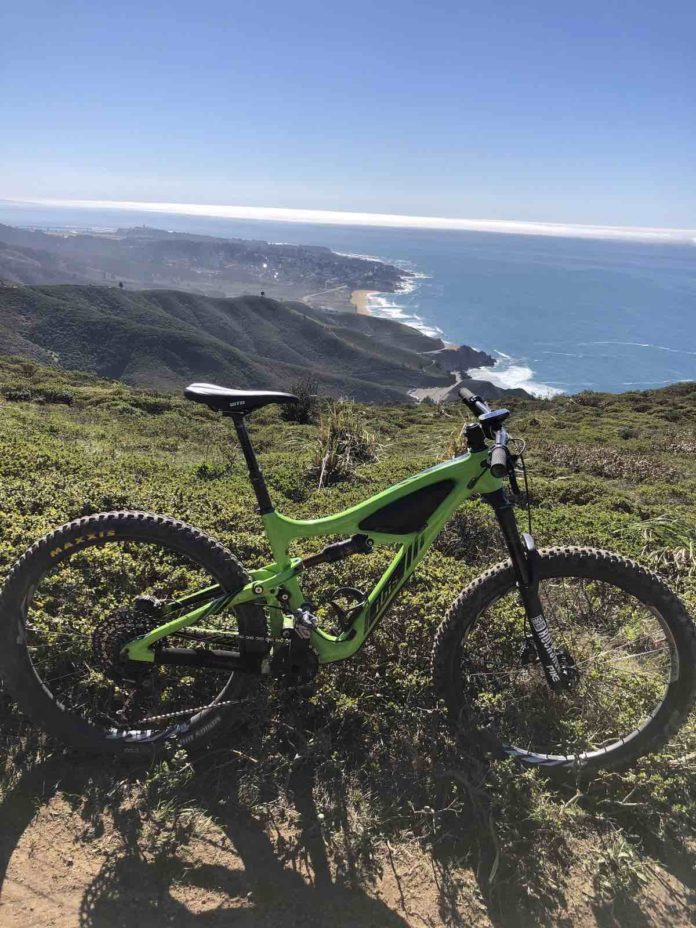 bikerumor pic of the day Pacifica, California, ibis mountain bike on a trail with the coastline down below